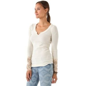 RARE Free People Ivory Kombucha Crochet Thermal